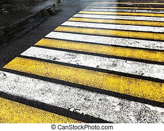 横断歩道, の間, ∥, 雨