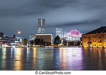 横浜, 夜