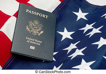 横, アメリカ人, イメージ, 旗, パスポート