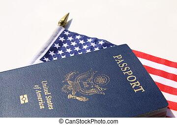 横, イメージ, アメリカのパスポート