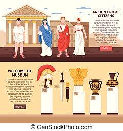 横, 古代, 旗, ローマ
