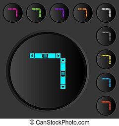 横, 押し, スクロール, バー, 暗い, アイコン, 色, ボタン, 縦