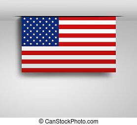 横, 旗, 私達, 掛かること