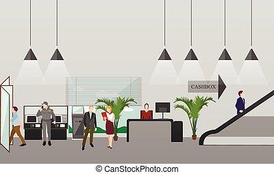 横, 旗, interiors., お金財政, concept., ベクトル, 銀行, 漫画, illustration., 平ら