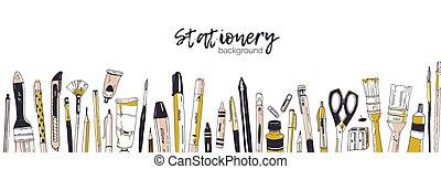 横, 道具, 芸術, illustration., オフィス, 文房具, テキスト, utensils., 現実的, 執筆, バックグラウンド。, ベクトル, 場所, テンプレート, 引かれる, 供給, 飾られる, 手, 旗, 白, 背景