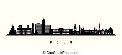 横, 都市, オスロ, スカイライン, banner.