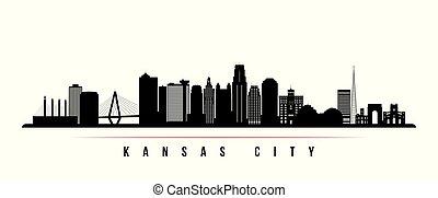 横, 都市, カンザス, スカイライン, banner.