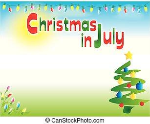 横, 7月, クリスマス, 背景, テンプレート