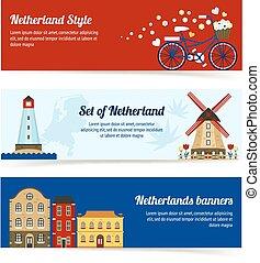 横, netherlands, 旗