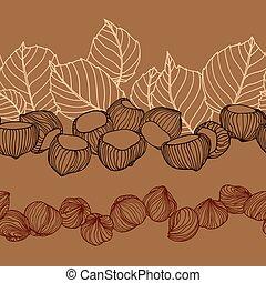 横, seamless, お菓子屋, 穀粒, パターン, 織物, デザイン, 葉, ∥あるいは∥, ヘイゼルナッツ, ...