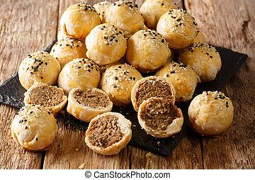 横, tau, 珍味, 砂糖, 両方とも, 作られた, 緑, 形態, penang, sar, 小麦, closeup...