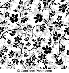 樱桃, 细枝, blossoms., seamless