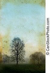 樹, 上, a, grunge, 背景