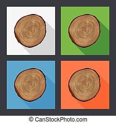 樹, 增長圓環, 套間, icons.