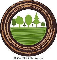 樹, 增長圓環, illustration., 矢量