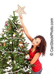 樹, 婦女, 美麗, 裝飾, 聖誕節, african