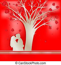 樹, 情人, 黑色半面畫像, 愛