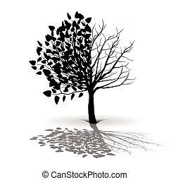 樹, 植物, 黑色半面畫像