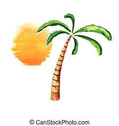 樹, 水彩, 矢量, 棕櫚, sun., logo.