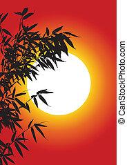 樹, 竹子, 黑色半面畫像
