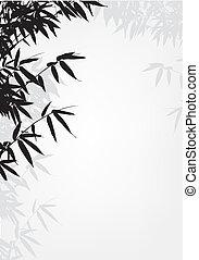 樹, 竹子, 黑色半面畫像, 背景