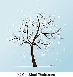 樹, 薄片, 冬天, 雪