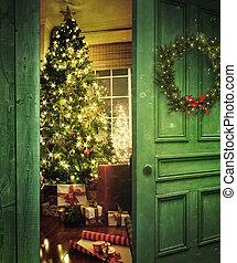 樹, 門, 房間, 聖誕節, 打開