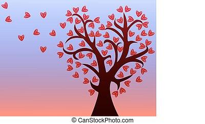樹, 離開, 愛, hearts.
