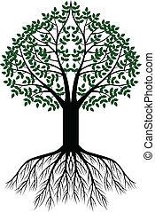 樹, 黑色半面畫像, 背景
