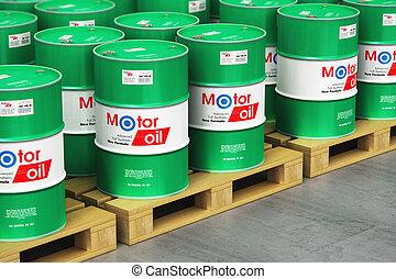 樽, オイル, グループ, パレット, 出荷, モーター, 倉庫, 潤滑油