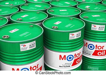 樽, オイル, グループ, 積み重ねられた, モーター, 倉庫, 潤滑油