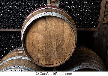 樽, オーク, びん, ワイン