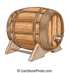 樽, ビール, 白い背景