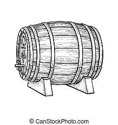 樽, ベクトル, イラスト, ワイン