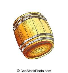 樽, ベクトル, オーク, 引かれる, 色, 古い, 木製である, 飲料