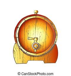 樽, ベクトル, 光景, オーク, ビール, 引かれる, 色, 木製である, 前部