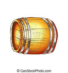 樽, ベクトル, 光景, 引かれる, 側, 色, 木製である, 型, あること