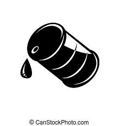 樽, ベクトル, 黒, オイル, アイコン