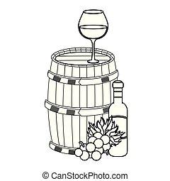 樽, ワイン, アイコン, ガラス, 木製である