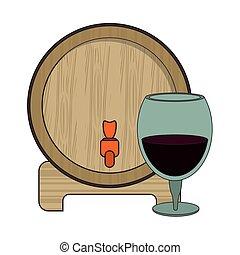 樽, ワイン, デザイン, ガラス, 木製である