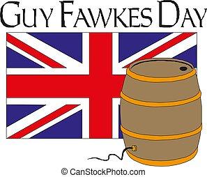 樽, 王国, 合併した, fawkes, 花火, イラスト, ベクトル, 人, 休日, gunpowder, 日, 幸せ