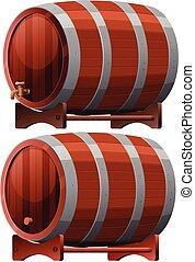 樽, 白い背景, ワイン