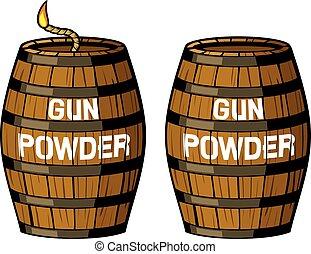 樽, 銃, イラスト, 粉