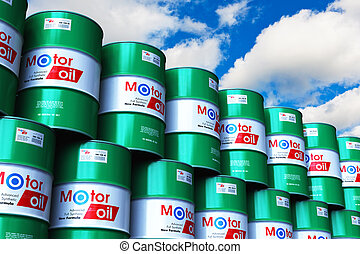 樽, 青, オイル, グループ, 積み重ねられた, 空, に対して, モーター, 潤滑油