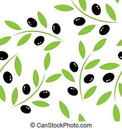 橄榄, 摘要, 风格, 背景。, 黑色, 分支, 白色