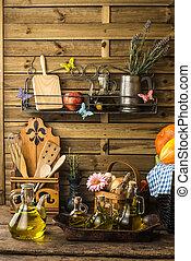 橄欖油, 在, a, 鄉村, 廚房