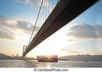 橋梁, 傍晚, 長, 小時