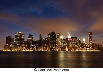 橋梁, 公園, 布魯克林, 地平線, 夜晚, 曼哈頓