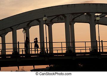橋梁, 古老, 傍晚