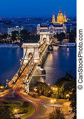 橋梁, 布達佩斯, 多瑙河, 夜晚, 鏈子